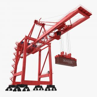 3D Port Container Crane Rigged Red with Container