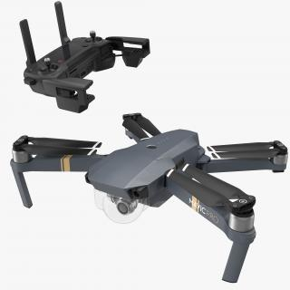 DJI Mavic Pro Quadcopter with Remote Controller Rigged 3D model
