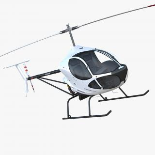 3D Ultra Light Helicopter Cicare 8 Rigged model