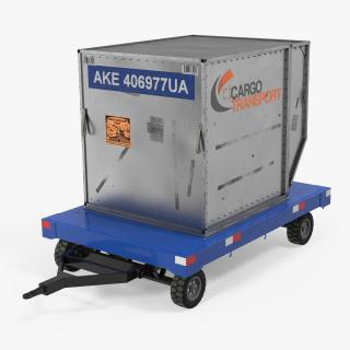 3D model Airport Baggage Trailer with Container Rigged