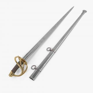 3D Heavy Cavalry Sabre with Sheath