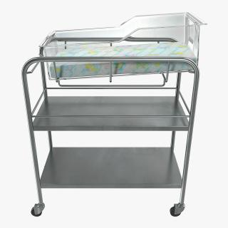 Stainless Steel Hospital Bassinet Carrier with Shelf 3D