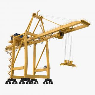 3D Quayside Container Crane Rigged