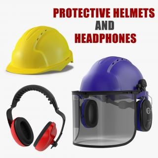 Protective Helmets and Headphones Collection 3D model