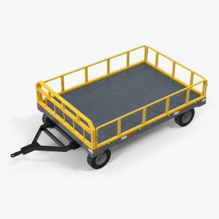 3D Airport Luggage Trolley Baggage Trailer Rigged