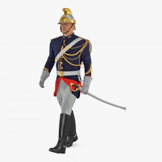 French Cuirassier Officers Walking Pose 3D model