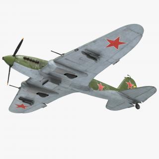 3D Ilyushin Il-2 WWII Soviet Attack Aircraft Rigged model