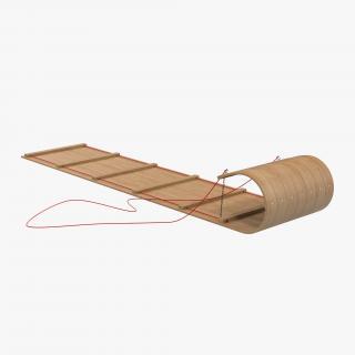 3D Classic Wooden Toboggan model