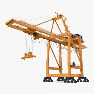 3D model Container Handling Gantry Crane Orange Rigged