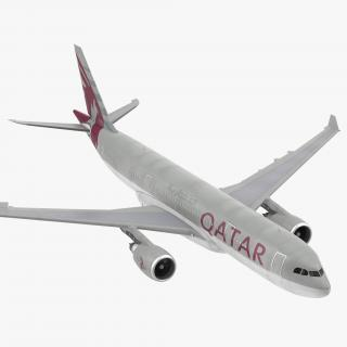 3D Airbus A330 P2F Qatar Rigged model
