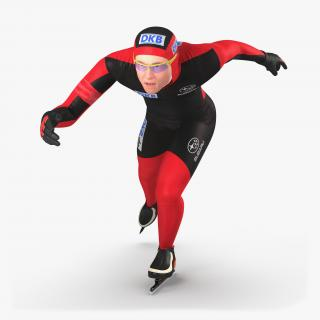 Speed Skater Runs 3D