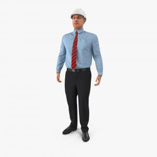 3D Construction Engineer in Hardhat Standing Pose