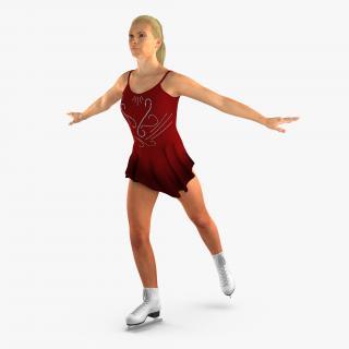 3D Female Figure Skater Dansing Pose model