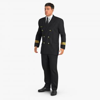3D Airline Pilot with Fur Standing