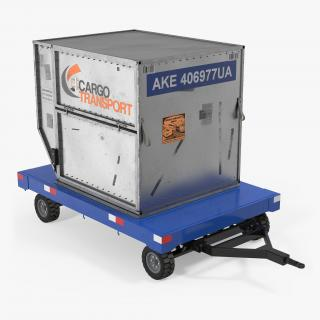 3D Airport Baggage Trailer with Container model