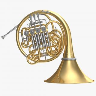 3D Double French Horn model