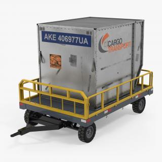 3D Airport Luggage Trolley Baggage Trailer with Container Rigged