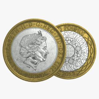 3D Two Pounds British Coin model