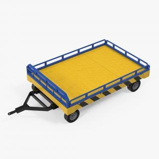 Airport Transport Trailer Low Bed Platform Rigged 3D model