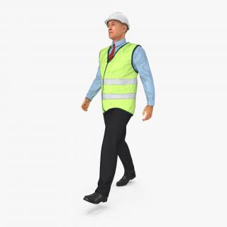 Construction Architect in Yellow Jacket Walking Pose 3D