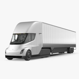 3D model Tesla Semi Truck with Trailer Simple Interior