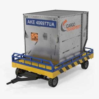 Airport Transport Trailer Low Bed Platform with Container Rigged 3D model