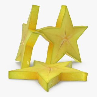 Star Fruit Or Carambola Slice 3D model