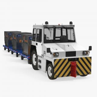 3D model Airport Tug Hallam HE50 and Luggage