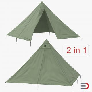 Floorless Camping Tents Collection 3D model