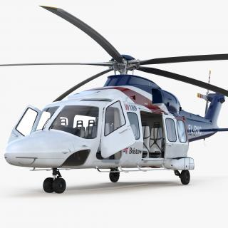 Corporate Transport Helicopter Agusta Westland AW189 Rigged 3D model