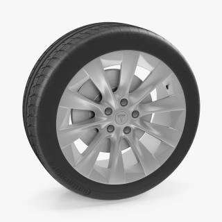 Tesla Silver Slipstream Wheel 3D model