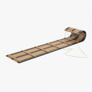 3D model Wooden Sled Toboggan