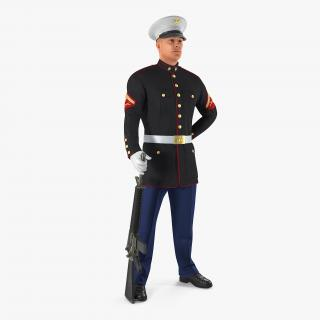 3D model US Marine Corps Soldier in Parade Uniform with M16