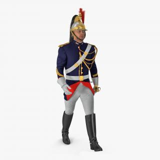 3D model French Republican Guard Walking Pose with Fur