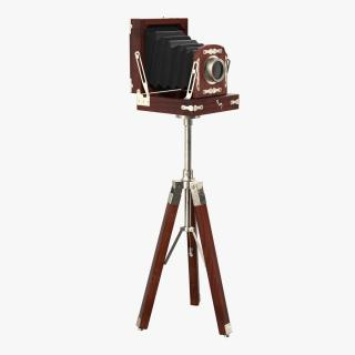 Antique Folding Plate Camera and Tripod 3D model