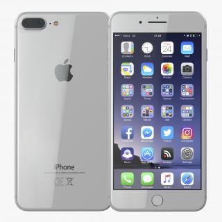 3D model iPhone 8 Plus Silver