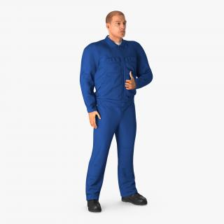 Mechanic Worker Wearing Blue Overalls Rigged 3D model