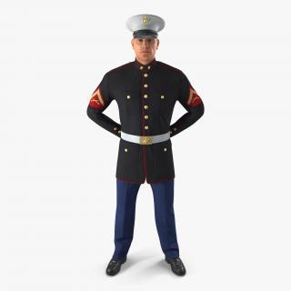 USMC US Marine Officer Wearing Parade Uniform Standing Pose 3D model
