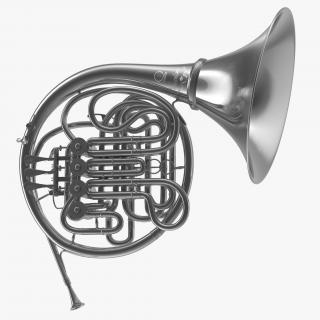 3D Professional Double French Horn Silver model