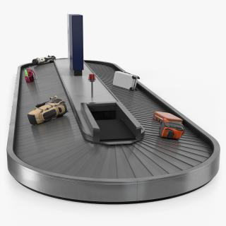 3D model Baggage Claim Conveyor Metal Rigged