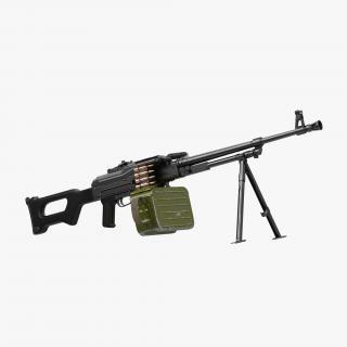 3D PKM With 100 Round Ammunition Box model