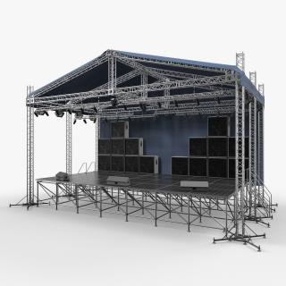 3D Concert Scene with Equipment model