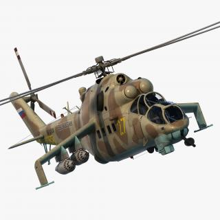 3D Russian Attack Helicopter Mil Mi-24B Hind Rigged model