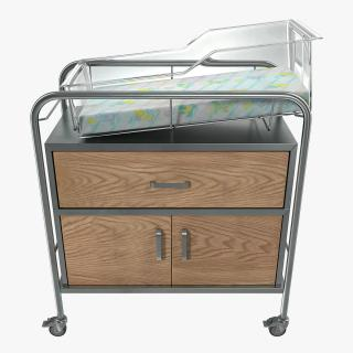 Hospital Bassinet Carrier With Drawer and Bottom Shelf 3D model