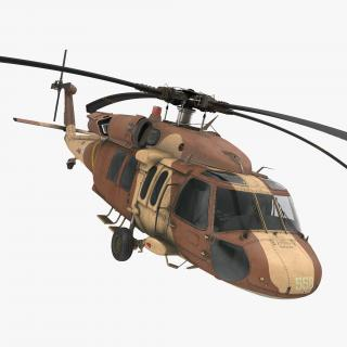 Sikorsky UH-60 Black Hawk Military Israel Utility Helicopter Rigged 3D