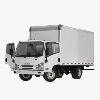 3D Box Truck Isuzu NPR 2018 Rigged