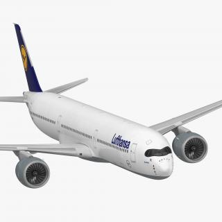 3D Airbus A350-1000 Lufthansa Rigged model