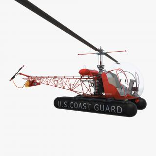 Bell 47 On Floats uscg Rigged 3D model
