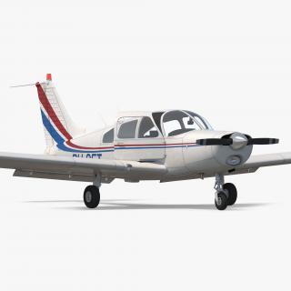 Civil Utility Aircraft Piper PA-28-161 Cherokee Rigged 3D model