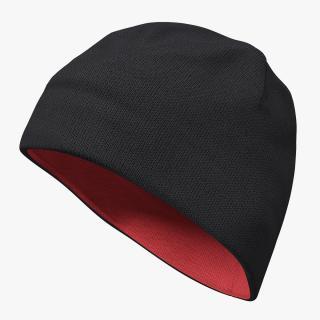 3D Mens Hat Ribbed Beanie Black model